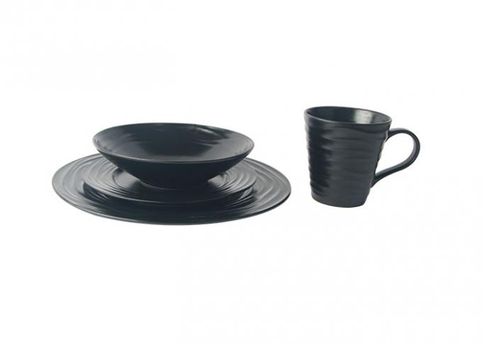 Matte Black Ceramic tableware Sets Customized Logo Eco Friendly