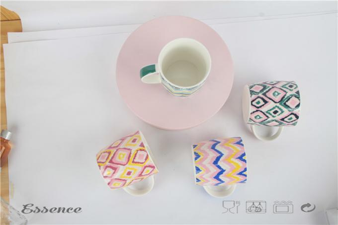 Bright Colorful Fine Bone China Mugs , Ceramic Travel Coffee Cup With Logo Printing
