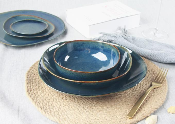 "Blue Reactive Color Ceramic Soup Bowls , 6.5"" Soup Cereal Bowls With Organic Shape"