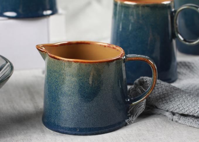 Lovely Little Ceramic Milk Pot Organic Shaped With Blue Reactive Color