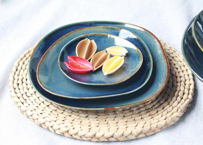 "10.5"" Ceramic Dinner Plates Organic Shaped With Blue Reactive Color"