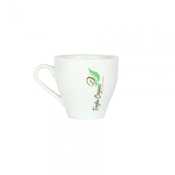 Durable Ceramic Porcelain Coffee Cup 220cc Crown Shape Eco Friendly