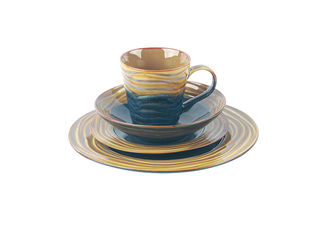 China Reactive Color Stoneware Dinnerware Sets With Dishwasher And Microwave Safe supplier