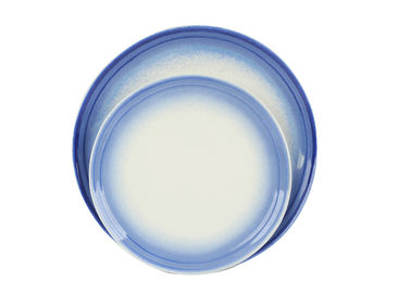 China Glossy Glazed Stoneware Salad Plates / Dinner Plates With Embossment Rim 22CM supplier