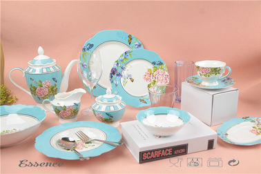 China Custom Printing New Bone China Dinnerware Sets Waving Rim For Wedding Banquet supplier