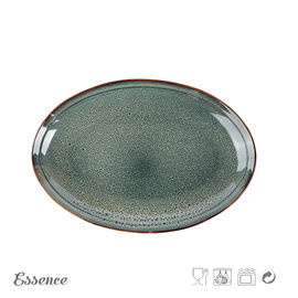 China Customized Color Ceramic Serveware Set , Ceramic Oval Stoneware Plates For Home / Cafe supplier