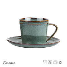 230ml Ceramic Tea Coffee Set / Cup Set , Stoneware Cup And Saucer Eco Friendly