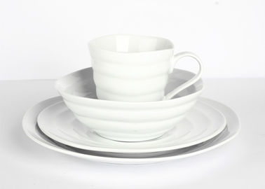 China Organic Design Cream Porcelain Dinnerware 16pcs Embossment SGS FDA Certification supplier