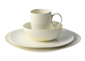 China Ivory Reactive Color Stoneware Dinnerware Sets 16 Pieces With Organic Shaped supplier