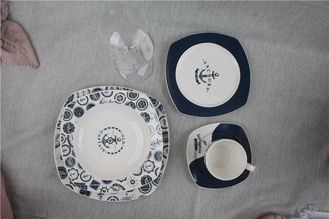 China Modern Luxury Fine Bone China Dinnerware Sets Square Shape For Home Decoration supplier