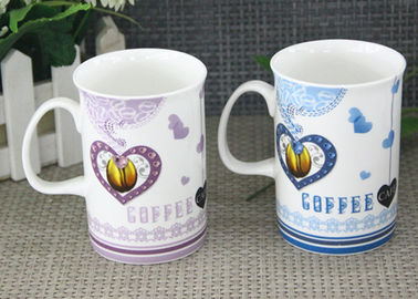 Durable White Porcelain Mugs 300-500ML Porcelain China Mugs With Decal Printing