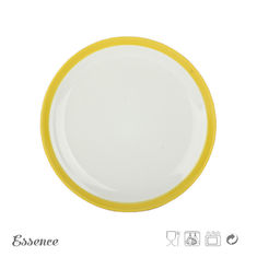 Round Glossy Color Porcelain Dessert Plates, 8 Inch White Stoneware Dishes Microwave Safe