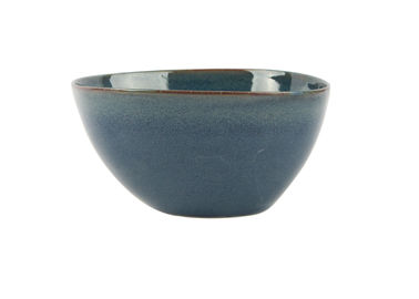 "China Blue Reactive Color Ceramic Soup Bowls , 6.5"" Soup Cereal Bowls With Organic Shape supplier"