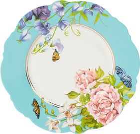 Delicate Ceramic Dessert Plates , Waving Shape Floral Dessert Plates For Wedding