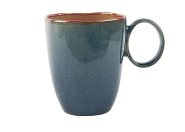 China Organic Stoneware Coffee Mugs With Blue Reactive Color Glaze Dishwasher Microwave Safe supplier