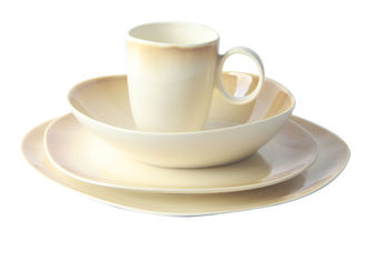 China Beige Color Stoneware Tableware Sets 16pcs Organic Shape Dishwasher / Microwave Safe supplier