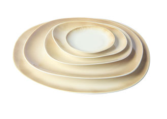 China 20CM Beige Porcelain Dinner Plates , Organic Shaped Stoneware Dessert Plates supplier