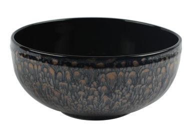 19CM / 7.5 Inch Ceramic Bowl For Salad With Metallic Glaze And Embossed Rim