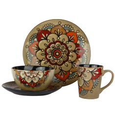 16pcs Ceramic Stoneware Dinnerware Sets Hand Painted Flower Reactive Glaze
