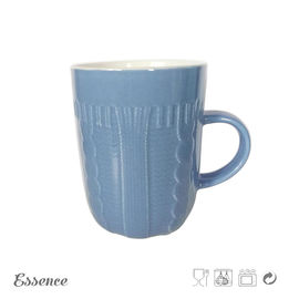 China Personalized 12 Oz Bone China Mugs , Color Glazed Ceramics Coffee Mugs With Embossment supplier