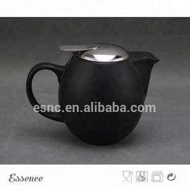 Ceramic teapot with stainless steel lid and strainer stoneware type